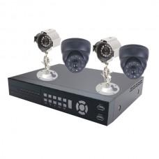 """Bender DVR Kit 4ch D4777HT + C4148SC*2 + C3545SC*2 H.264 +2x CCD 1/4"""" + 2x Dome 1/3"""" 420TVl"""