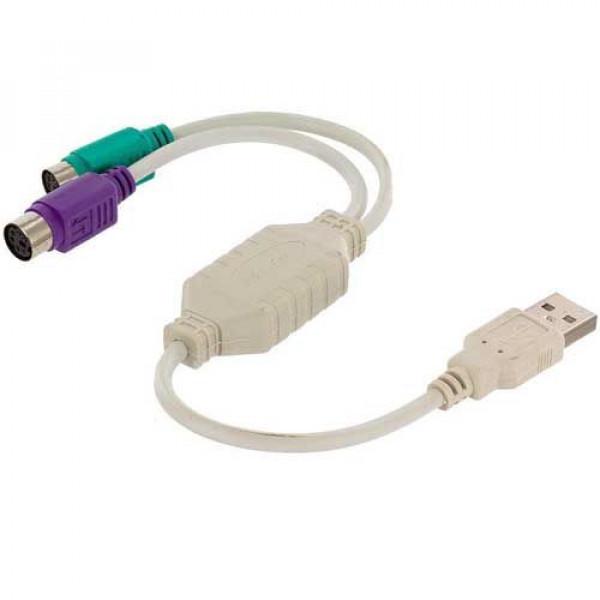 Μετατροπέας USB 2.0 Type Α Αρσενικό σε 2x PS2 Θηλυκά Connector Adapter Converter