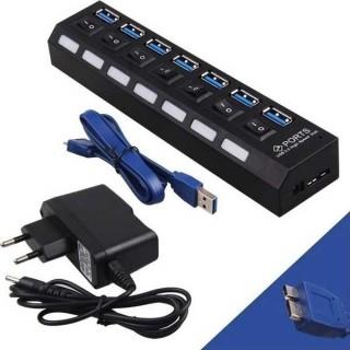 PowerTech USB 3.0 Hub, 7 Port, με Διακόπτες On-Off + Μετασχηματιστής ρεύματος