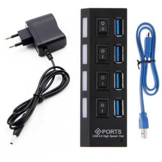 PowerTech USB 3.0 Hub, 4 Port, με Διακόπτες On-Off + Μετασχηματιστής ρεύματος