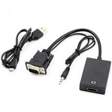 VGA male σε HDMI female Full HD 1080P Video Audio Converter 15cm OEM - BLACK