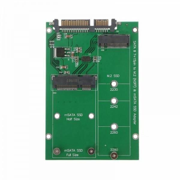 Μετατροπέας SATA 22 ακίδων σε NGFF M.2 + mSATA SSD Converter adapter