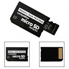 Μετατροπέας κάρτας μνήμης Micro SD και SDHC σε Memory Stick Pro Duo adapter για PSP