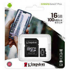 Κάρτα Μνήμης Kingston Micro SDHC 16GB + Adapter Canvas Select