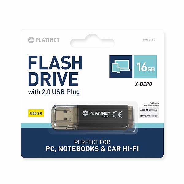 Platinet USB 2.0 Flash Drive 16 GB X-DEPO PMFE16B Black