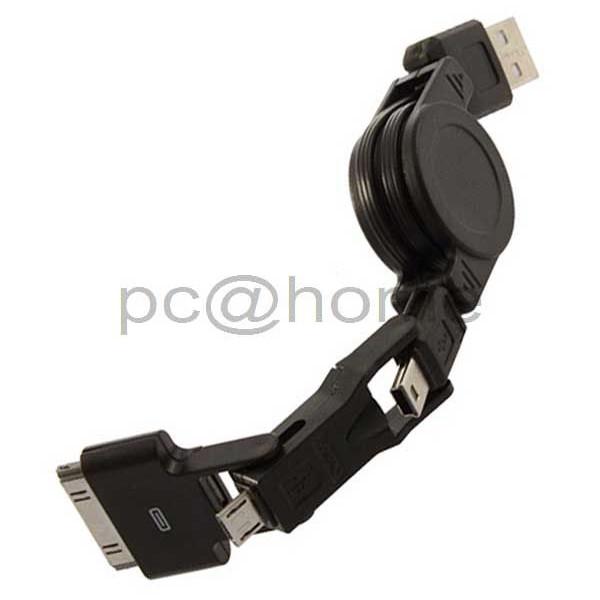 Καλώδιο 3 σε 1 Retractable USB σε Mini Micro & iPhone 4 4S iPod (φόρτισης και συγχρονισμού)