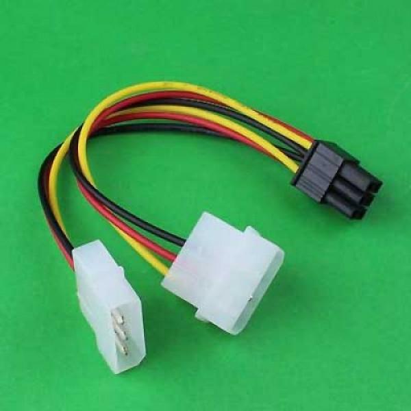 Καλώδιο αντάπτορας τροφοδοσίας κάρτας γραφικών 2xMolex 5.25 4-pin σε PCI Express 6-pin μήκος 17 εκ.